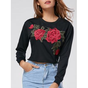 Floral Embroidered Crew Neck Crop Sweatshirt