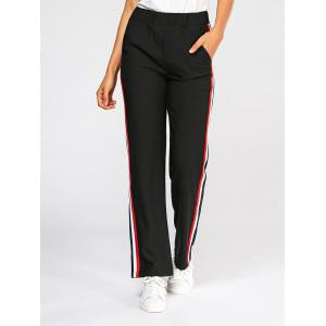 Side Color Block Elastic High Waist Pants - BLACK S