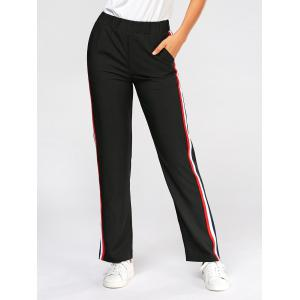 Side Color Block Elastic High Waist Pants