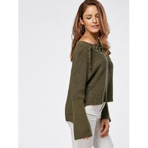 Raglan Sleeve High Low Lace Up Sweater - LAWN ONE SIZE