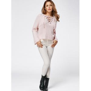Raglan Sleeve High Low Lace Up Sweater - LIGHT PINK ONE SIZE