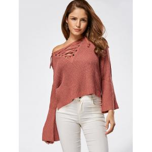 Raglan Sleeve High Low Lace Up Sweater - DARK AUBURN ONE SIZE