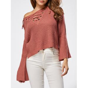 Raglan Sleeve High Low Lace Up Sweater