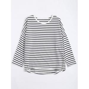 Drop Shoulder Plus Size Stripe Sweatshirt - White - 5xl