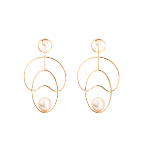 Faux Pearl Embellished Hollow Out Stud Earrings - GOLDEN