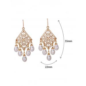 Faux Pearl Embellished Fish Hook Chandelier Earrings -