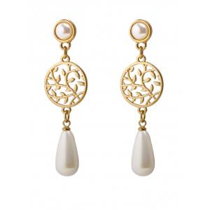 Faux Pearl Pendant Round Life Tree Earrings