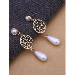 Faux Pearl Pendant Round Life Tree Earrings - GOLDEN