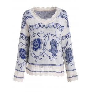 V Neck Knit Plus Size Graphic Sweater - Blue - Xl