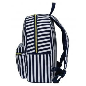Color Block Polyester Backpack - BLUE AND WHITE