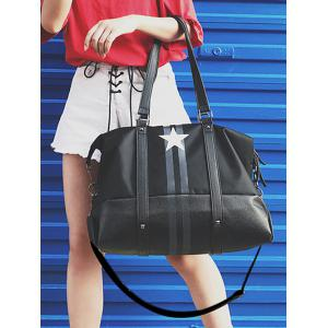 Star Print Rivets Shoulder Bag - Noir