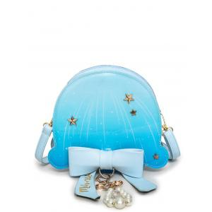 Star Pattern Bow Crossbody Bag - Windsor Blue - 40