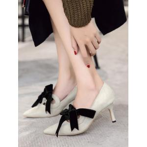 Bow Mid Heel Pointed Toe Pumps - Abricot 37