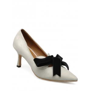 Bow Mid Heel Pointed Toe Pumps