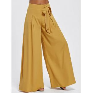 Drawstring High Waisted Wide Leg Pants - Earthy - 2xl