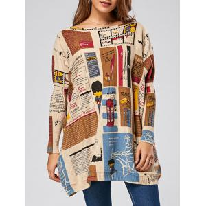 Pullover Letters Cartoon Pattern Drop Shoulder Sweater