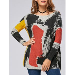 Color Lump Drop Shoulder Ribbed Pullover Sweater - Colormix - One Size