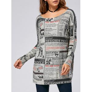 Pullover Letters Newspaper Drop Shoulder Ribbed Sweater - Colormix - One Size