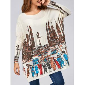 Cartoon City Pattern Ribbed Drop Shoulder Pullover Sweater