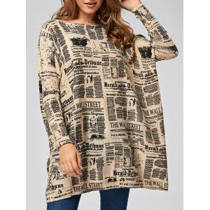 Pullover Letters Pattern Ribbed Drop Shoulder Sweater