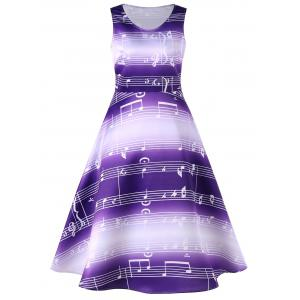 Sleeveless Music Notes Print 50s Swing Dress - Purple - S