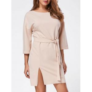 Belt Side Split Shirt Mini Dress