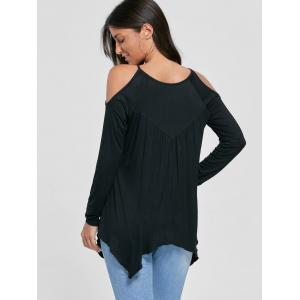 Open Shoulder Handkerchief Top - BLACK M