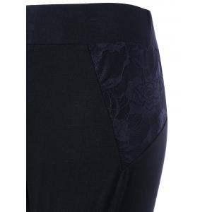 Plus Size Lace Insert Fitted Pants - BLACK XL