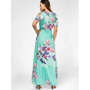 Cold Shoulder Floral Print Maxi Dress - GREEN L