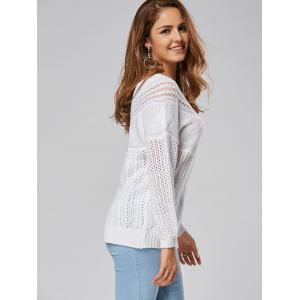 Casual Hollow Out Cable Knit Sweater - WHITE 2XL