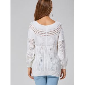 Casual Hollow Out Cable Knit Sweater - WHITE L