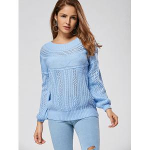 Casual Hollow Out Cable Knit Sweater - BLUE L