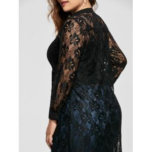 High Low Lace Long Sleeve Plus Size Top - BLACK 2XL