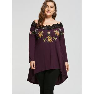High Low Plus Size Broderie Off Shoulder Top - Multicolore 4XL