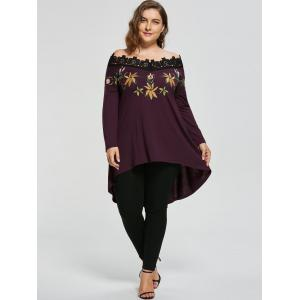 High Low Plus Size Embroidery Off Shoulder Top -