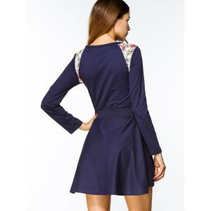 Floral Panel Belted Long Sleeve Mini Dress -