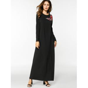 Floral Embroidered Long Sleeve Maxi Dress - BLACK M