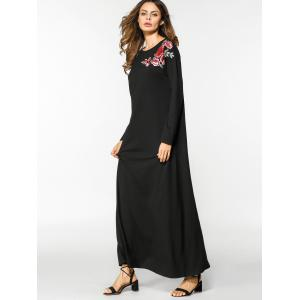 Floral Embroidered Long Sleeve Maxi Dress - BLACK 2XL