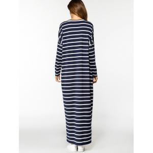 Stripes Long Sleeve Casual Maxi Dress -