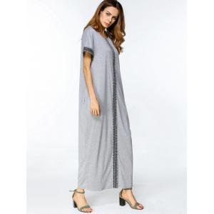 Geometric Embroidered Trim Loose Maxi Dress - GRAY M