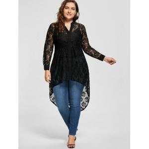 High Low Lace Long Sleeve Plus Size Top -
