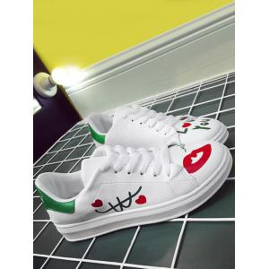 Faux Leather Letter Printed Athletic Shoes -