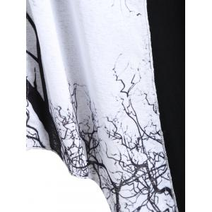 Plus Size Tree Graphic Long Sleeve Asymmetric Top -