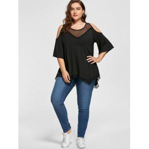 Mesh Trim Cold Shoulder Plus Size Tunic Top -