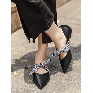 Tie Up Faux Leather Flat Shoes -