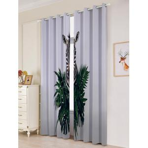 2Pcs Zebra Pattern Lightproof Window Curtains -