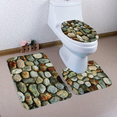 Best Stone Wall Pattern 3 Pcs Bath Mat Toilet Mat GRAY