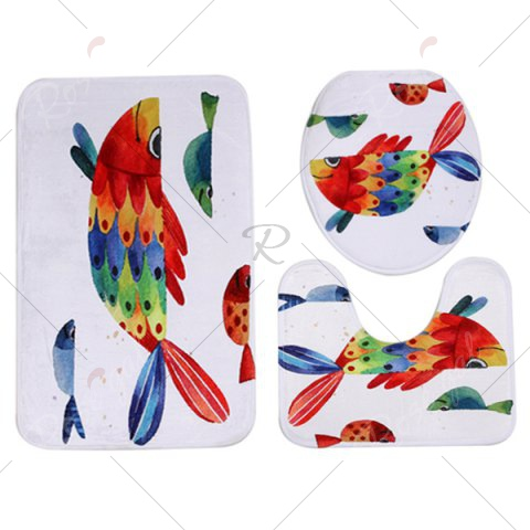 Sale Watercolour Fish Pattern 3 Pcs Bath Mat Toilet Mat - COLORMIX  Mobile