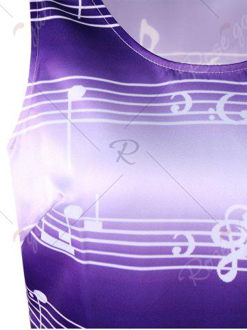 Latest Sleeveless Music Notes Print 50s Swing Dress - XL PURPLE Mobile