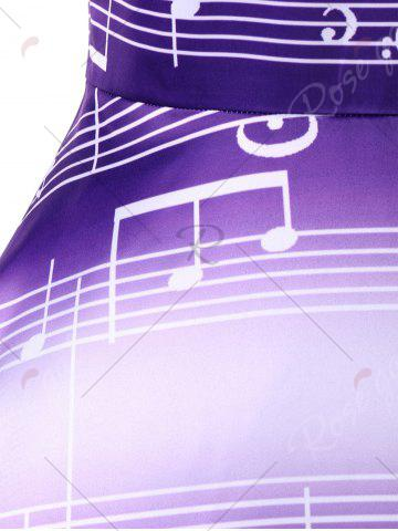 Outfits Sleeveless Music Notes Print 50s Swing Dress - XL PURPLE Mobile